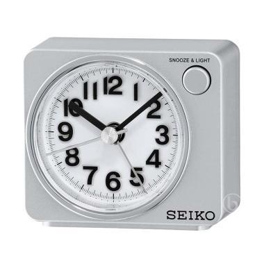 Seiko QHE100S Quiet Sweep LED Flash Beep Alarm Clock - Silver