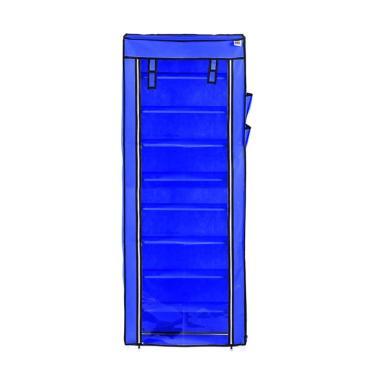 Nine Box Rak Sepatu Transparan - Navy Blue  [10 Cover / 9 Tingkat]
