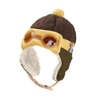 Camp Korean Pilot Hat Brown Army Topi Bayi dan Anak  - Brown Cream