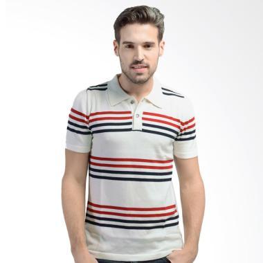 Knitwork Off White Striped Polo Shirt - off white