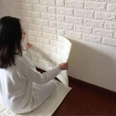Sticker Wallpaper Dinding 3D Embosed Model Bata - White Limited