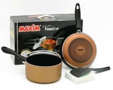 Baru Maxim Venice Set (Panci 17Cm+ Tutup Kaca+ Wajan 20Cm+ Spatula+ Sponge) Promo