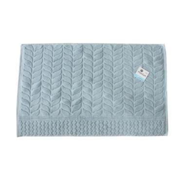 Terry Palmer Motif Daun Handuk Keset - Biru [70 x 45 cm]