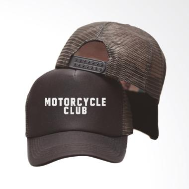 RLUCK8888 Motorcycle Club Topi Trucker Pria - Hitam 74a7b6f454