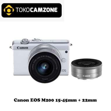 Tokocamone - Canon EOS M200 15-45mm + 22mm Mirrorless Camera WHITE