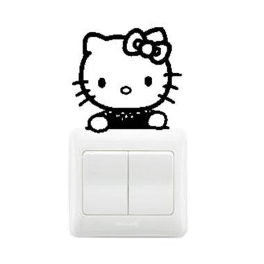 OEM Motif Hello Kitty Cute Decal De ... klar Wall Sticker - Hitam