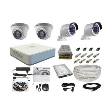 Hikvision Paket Lengkap CCTV 4 Came ...  In+2 Out [2.0 MP/500 GB]