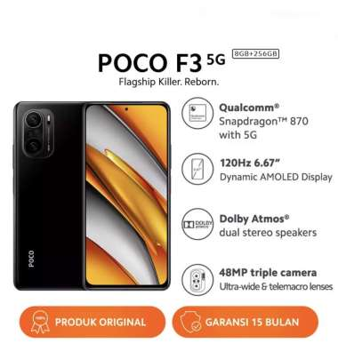 harga POCO F3 (8GB+256GB) Snapdragon 870 48MP Al Triple Kamera Layar 120Hz 6.67