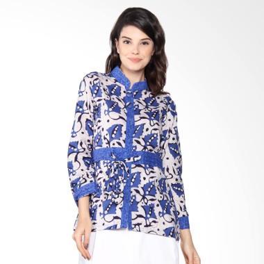 Jogja Batik Blus Kerja Motif Bunga Cap Atasan Wanita - Biru