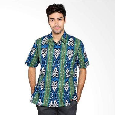 Batik Distro Pola Garis Pendek Kemeja Pria - Biru K7994