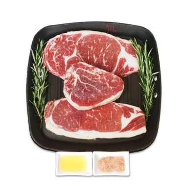 harga US BLACK ANGUS STEAK SET -Beef 600gr + Seasoning + Olive Oil for 3 pax Blibli.com