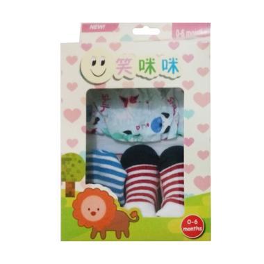 Mom Set Topi-Kaos Kaki-Sarung Tangan Bayi - Animals Stripes [Newborn]