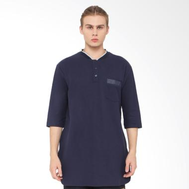 Zayidan Kaos Muslim Gamis Polos - Biru Navy