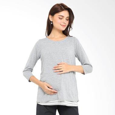 INUJIRUSHI Maternity Stripe Layer T ... u Hamil & Menyusui - Grey