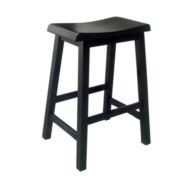 MOMO Diy Bar Stool Black Shorea Wood Kursi [29 Inch]
