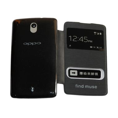 Winner Flip Cover Casing for Oppo R821 Muse - Black