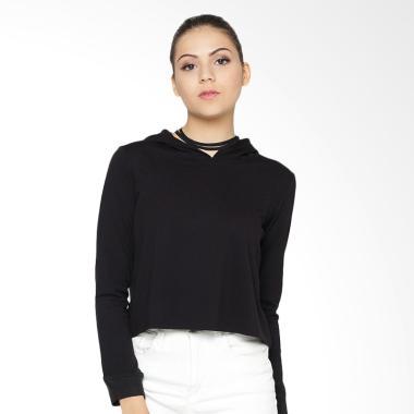 Heart and Feel 1267.B Crop Sweatshirt Atasan Wanita - Black