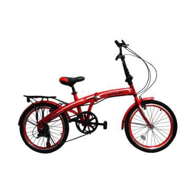 Evergreen Folding Bike Sepeda Lipat - Merah [20 Inch]