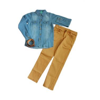 Senshukei 3in1 Jeans Top Belt Set Pakaian Anak Laki-Laki
