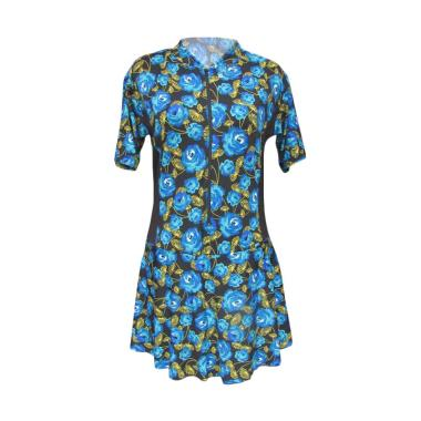 Rainy Collections Motif Bunga Baju Renang Wanita - Biru