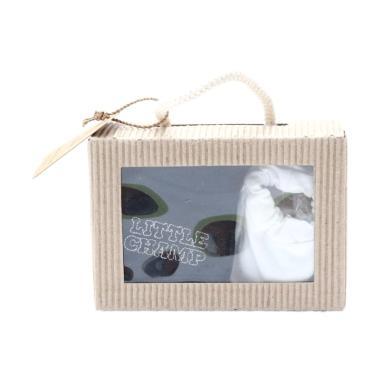 Cribcot Booties Plain White & Mitten Little Champ Black White Gift Set