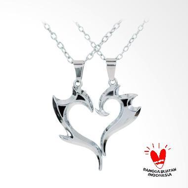 Arrazi Craft Love Liontin Kalung Couple - Silver Metalic