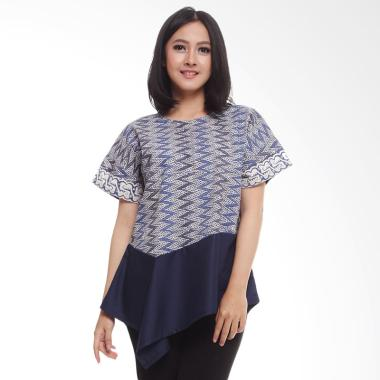 Coeval Collection Emma Blouse Batik Atasan Wanita Grey Blue
