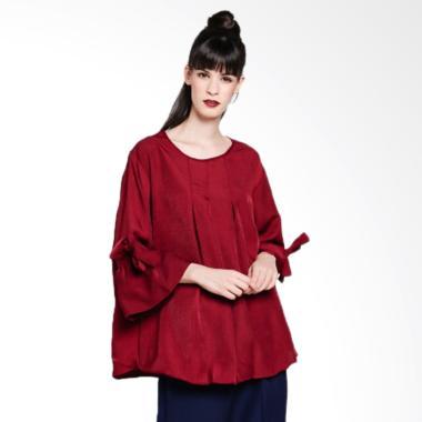 Noia Clothing Plus Size Plain Blouse Atasan Wanita - Maroon