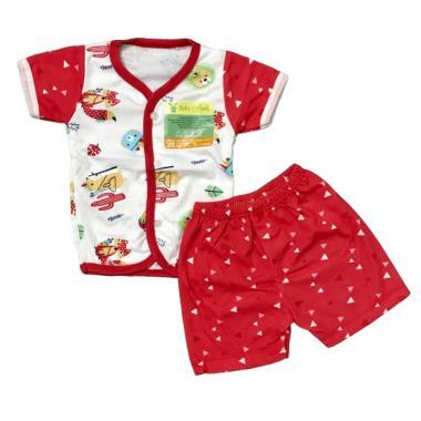 Aruchi Motif Tribal Kancing Depan T ... n Baju Tidur Bayi - Merah