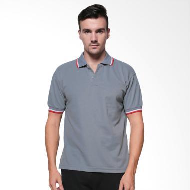 Elfs Shop Stripe Polo Shirt Pria - Abu Muda