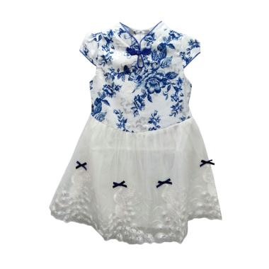 Import Kids Cheongsam Dress Anak Perempuan - Putih Biru