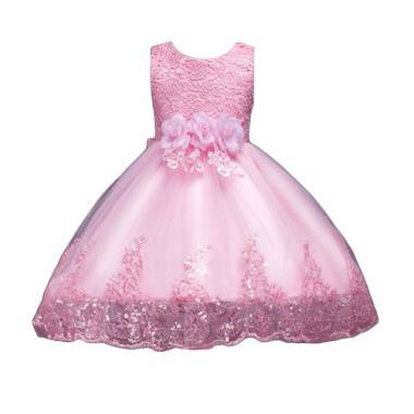 VERINA BABY Variasi Flowers Brukat dan Sequin Dress Pesta Anak - Pink