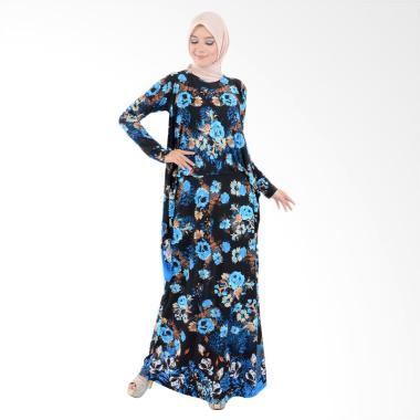 Jfashion Corak Bunga Long Dress Gamis Maxi - Nabilah Biru