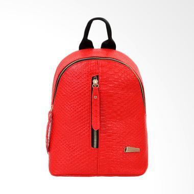 Lansdeal School Bags Leather Women Backpacks - Red