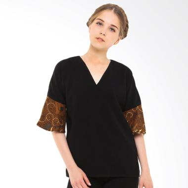 STEPH Blouse Batik with Kimono Sleeve Atasan Wanita - Black