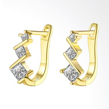 SOXY AKE129 Fashion K Three Diamond Earrings Gold Plated - Gold