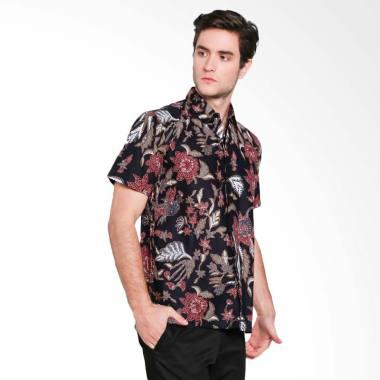 Odza Bunga Baju Batik Pria Hitam S Black