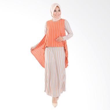 Jfashion Corak Salur Maxi Long Dress Gamis Muslim - Alfiana Orange