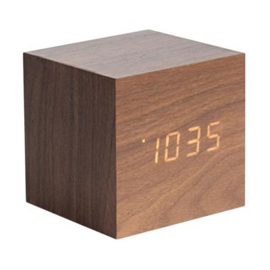 Karlsson Mini Cube Dark Wood Veneer Alarm Clock Jam Dinding