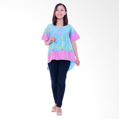 Winggo Etniq Mullet Blouse in Pastel Batik Wanita - Blue