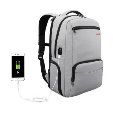 Tigernu T-B3319 Waterproof with USB Charging Ransel Tas Laptop - Silver Grey [15.6