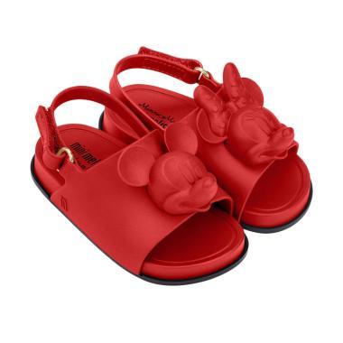 Mini Melissa Beach Slide Sandal Dis ... nak Perempuan - Red Black