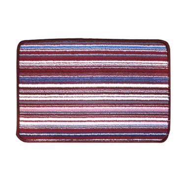 Classic Carpets 01 Stripped Anti Slip Keset - Red [40 x 60 cm]