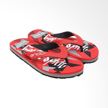 Ando Sandal Jepit Pria - Red Black [VIP 02]