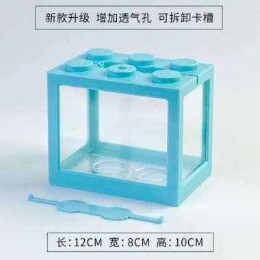 harga New TOPINCN Aquarium Mini Lego Cupang Betta 4 Side Windows 12x8x10cm - Biru Muda Limited Blibli.com