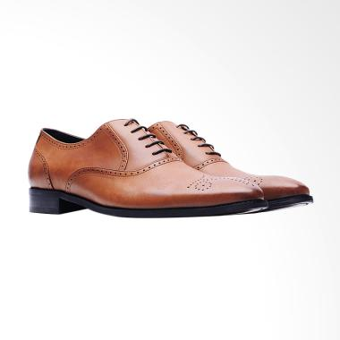 Life8 Nappa Cow Leather Embossed Oxford Shoes - Brown [09148]
