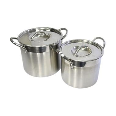 Supra Stainless Stockpot Bursa Dapur Set Panci [2 pcs/ 8 & 12 Qt]