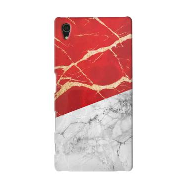 Premiumcaseid Red White Marble Flag Hardcase Casing for Sony Xperia Z5 Compact