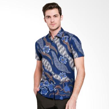 Odza Batik Floral Seling Kemeja Pria - Blue