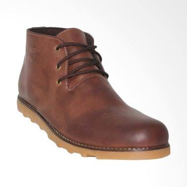 D-Island Shoes Manhood Leather Sepatu Pria - Brown